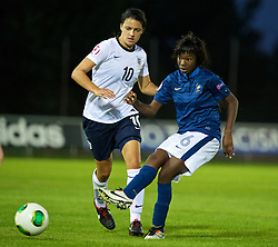 LLANELLI, WALES - Monday, August 19, 2013: France's Aminata Diallo in action against England during the Group A match of the UEFA Women's Under-19 Championship Wales 2013 tournament at Stebonheath Park. (Pic by David Rawcliffe/Propaganda)