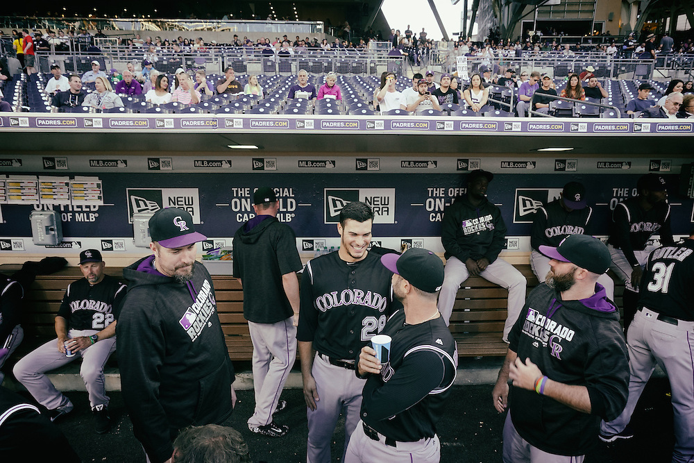 San Diego, CA - JUNE 04:   Nolan Arenado jokes around with teammates before the start of game against the Padres at Petco Park during game with the San Diego Padres San Diego, California.  (Sandy Huffaker for ESPN)