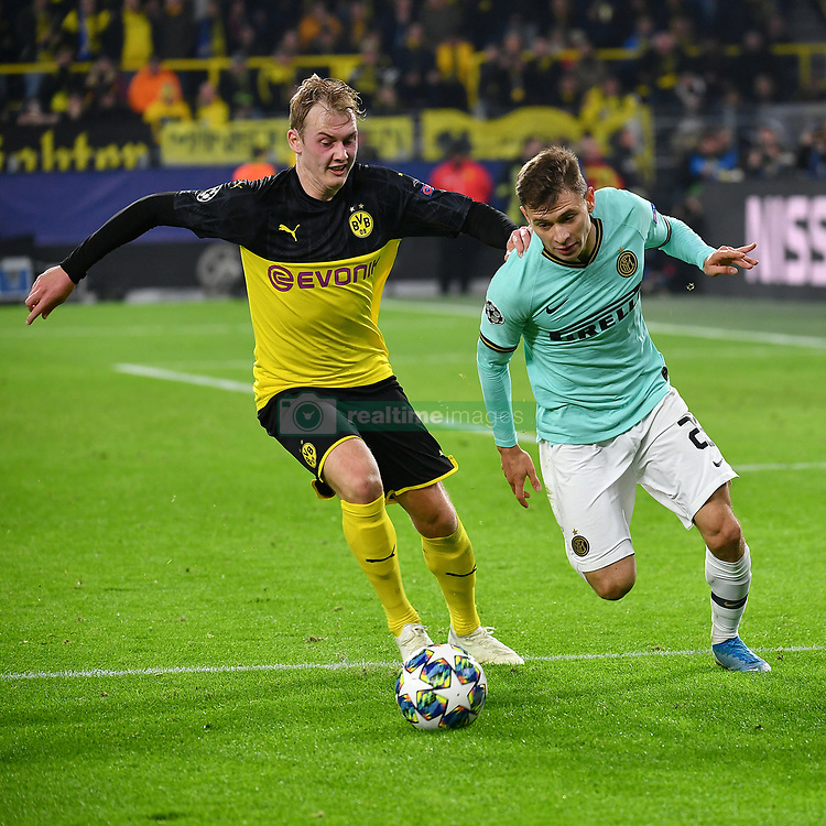 DORTMUND, Nov. 6, 2019  Julian Brandt (L) of Dortmund vies with Nicolo Barella of Inter during a UEFA Champions league group F soccer match between Borussia Dortmund and Inter Milan in Dortmund, Germany, Nov. 5, 2019. (Photo by Ulrich HufnagelXinhua) (Credit Image: © Xinhua via ZUMA Wire)