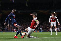 Laurent Koscielny of Arsenal and Mouctar Diakhaby of Valencia challenge for the ball - Mandatory by-line: Arron Gent/JMP - 02/05/2019 - FOOTBALL - Emirates Stadium - London, England - Arsenal v Valencia - UEFA Europa League Semi-Final 1st Leg