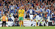 Cardiff - Saturday August 23rd, 2008: Ross McCormack of Cardiff City celebrates scoring the second goal as Lee Smith of Norwich City looks on during the Coca Cola Championship match at The Ninian Park, Cardiff. (Pic by Paul Hollands/Focus Images)