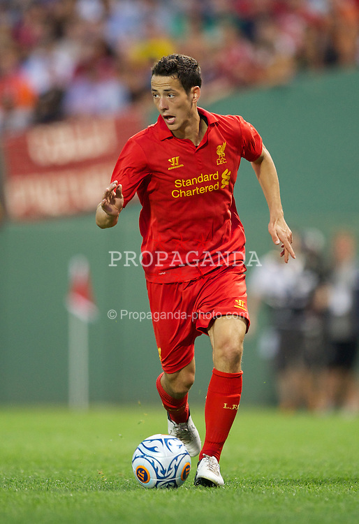 BOSTON, MA - Wednesday, July 25, 2012: Liverpool's Krisztian Adorjan in action against AS Roma during a pre-season friendly match at Fenway Park, home of the Boston Red Sox, the second match of the Reds' North American tour. (Pic by David Rawcliffe/Propaganda)