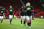 Wayne Rooney of Manchester United in warm up with team mates during the Barclays Premier League match between Manchester United and Stoke City at Old Trafford, Manchester, England on 2 February 2016. Photo by Phil Duncan.
