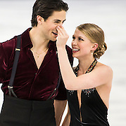 Kaitlyn Weaver and Andrew Poje playing after the ice dance free dance figure skating competition on February 17, 2014 at the Iceberg Skating Palace during the XXII Olympic Winter Games in Sochi, Russia.