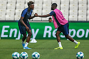 Chelsea forward Tammy Abraham (9) during the Chelsea Training session ahead of the 2019 UEFA Super Cup Final between Liverpool FC and Chelsea FC at BJK Vodafone Park, Istanbul, Turkey on 13 August 2019.