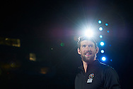 Olympian and multi gold medalist Michael Phelps smiles while opening ceremony of the Special Olympics World Games Los Angeles 2015 at the Los Angeles Coliseum Stadium on July 25, 2015 in Los Angeles, USA.<br /> USA, Los Angeles, July 25, 2015<br /> <br /> Picture also available in RAW (NEF) or TIFF format on special request.<br /> <br /> For editorial use only. Any commercial or promotional use requires permission.<br /> <br /> Adam Nurkiewicz declares that he has no rights to the image of people at the photographs of his authorship.<br /> <br /> Mandatory credit:<br /> Photo by © Adam Nurkiewicz / Mediasport