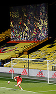 Ben Foster of Watford takes a goal kick in front of the giant screen showing the fans pictures during the Premier League match at Vicarage Road, Watford. Picture date: 20th June 2020. Picture credit should read: Darren Staples/Sportimage