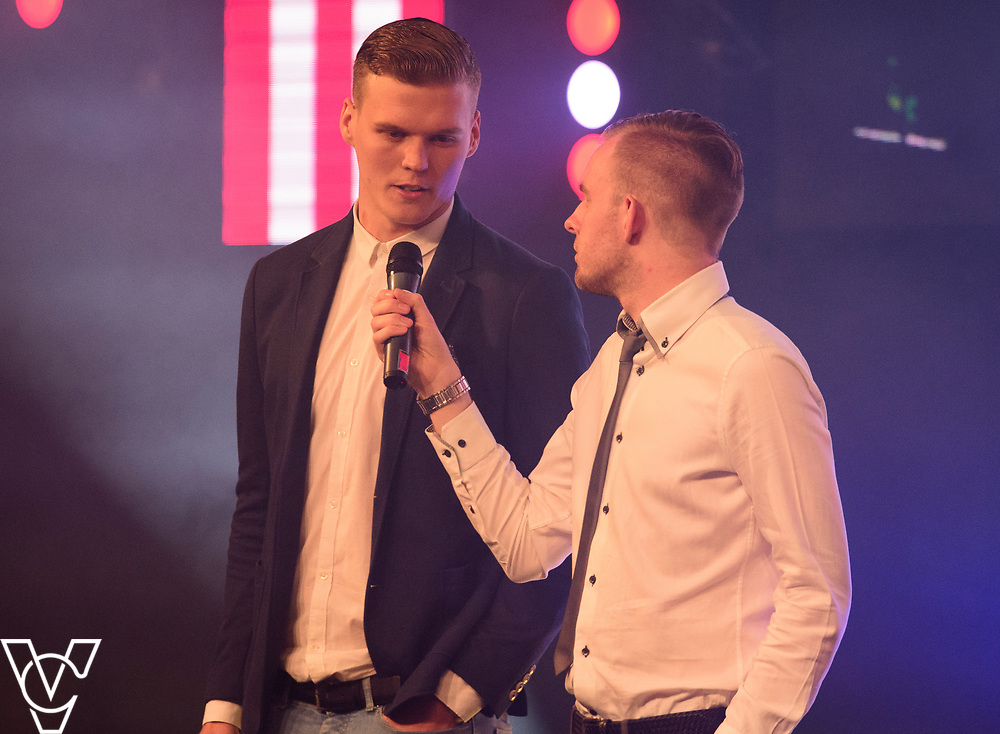 Sean Ragget being interviewed  by Rob Makepeace on winning the Young Player of the Season award<br /> <br /> Lincoln City Football Club's 2016/17 End of Season Awards night - Champions Seasons Awards Dinner - held at the Lincolnshire Showground.<br /> <br /> Picture: Andrew Vaughan for Lincoln City Football Club<br /> Date: May 20, 2017 Champions Seasons Awards Dinner: