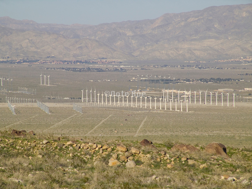 Wind energy farm in desert Palm Springs Southern California