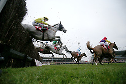 Runners clear an early fence in The 32RED King George VI Steeple Chase Race run during day one of 32Red Winter Festival at Kempton Park Racecourse.