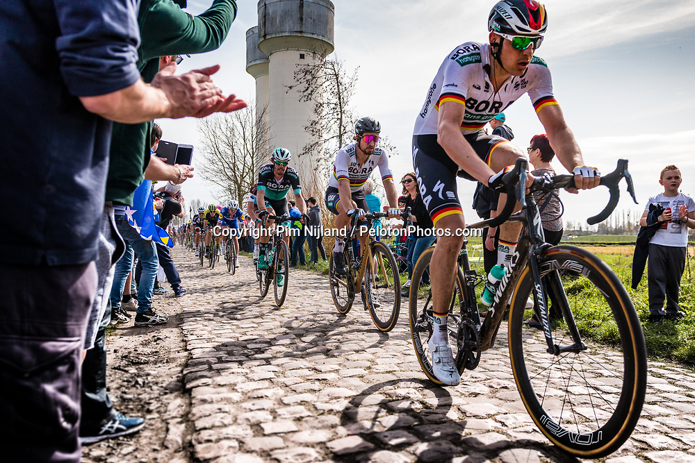 Peloton with Peter SAGAN from Slovakia of BORA - hansgrohe at the 4 star cobblestone sector 17 from Hornaing to Wandignies during the 2018 Paris-Roubaix race, France, 8 April 2018, Photo by Pim Nijland / PelotonPhotos.com | All photos usage must carry mandatory copyright credit (Peloton Photos | Pim Nijland)