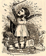 Arthur Seymour Sullivan (1842-1900) English composer, conductor and musicologist who had a long collaboration with Will Schwenck Gilbert which produced the Savoy light operas (1877-1896).  Cartoon by Edward Linley Sambourne in the Punch's Fancy Portraits series from 'Punch' (London, 30 October 1880).