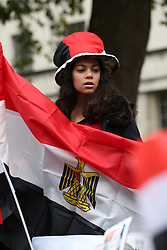 © Licensed to London News Pictures. 05/11/2015. London, UK. Protests are held near Downing Street as President Sisi meets with Egyptian President Sisi. Photo credit: Peter Macdiarmid/LNP