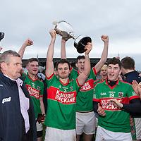 Clare County Board Chairman Joe Cooney presents the cup to Kilmurry Ibrickane's captain Ciaran Morrissey.