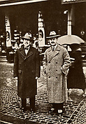 Heinrich Mann (1871-1950), left, and Thomas Mann (1875-1955) German novelists. In 1929 Thomas was awarded the Nobel prize for literature. From a photograph. Halftone.