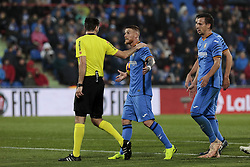 November 10, 2018 - Getafe, Madrid, Spain - Getafe CF's Vitorino Antunes have words with the referee during La Liga match between Getafe CF and Valencia CF at Coliseum Alfonso Perez in Getafe, Spain. November 10, 2018. (Credit Image: © A. Ware/NurPhoto via ZUMA Press)