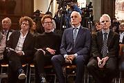 Koning Willem Alexander onthult gedenksteen voor Multatuli - Eduard Douwes Dekker, in de Nieuwe kerk, Amsterdam als onderdeel het Multatuli-jaar<br /> <br /> op de foto: Arnon Grunberg (L) en Arthur Japin (R)
