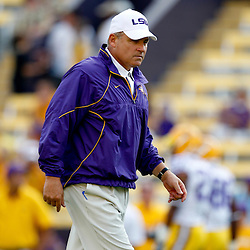 Sep 18, 2010; Baton Rouge, LA, USA;  LSU Tigers head coach Les Miles on the field during warms ups prior to a game against the Mississippi State Bulldogs at Tiger Stadium.  Mandatory Credit: Derick E. Hingle
