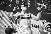 August 2-4 2019: IMSA WeatherTech Series. Mazda celebrates winning the Road America Sportscar Showcase. #55 Mazda Team Joest Mazda DPi, DPi: Harry Tincknell