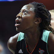 UNCASVILLE, CONNECTICUT- May 2:  Tina Charles #31 of the New York Liberty during the Los Angeles Sparks Vs New York Liberty, WNBA pre season game at Mohegan Sun Arena on May 2, 2017 in Uncasville, Connecticut. (Photo by Tim Clayton/Corbis via Getty Images)