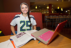 Julia Hutchison '18Seahawks Blue Friday at PLU on Friday, Jan. 30, 2015. (Photo/John Froschauer)