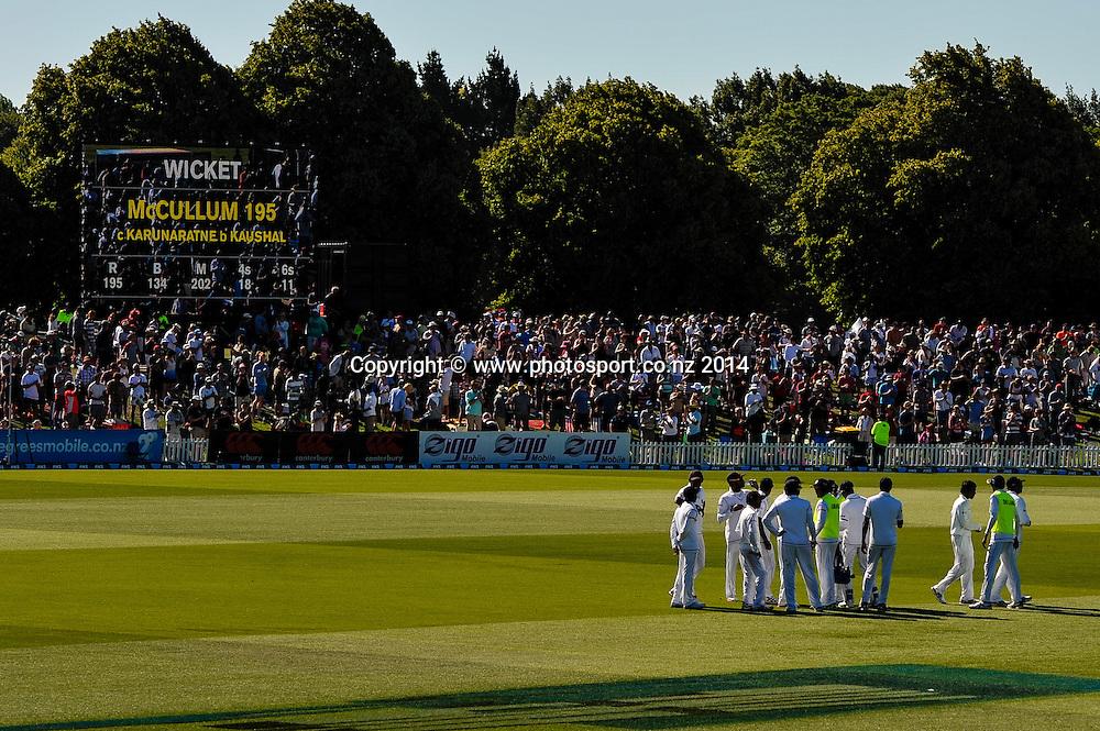 Sri Lanka celebrates Brendon McCullum wicket in the 1st day of the cricket test match, NZ v Sri Lanka, Hagley Oval, 26 December 2014. Photo:John Davidson/www.photosport.co.nz