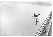 David Kirke jumping odd golden Gate Bridge, San Francisco, DSC Archive. Do Not use without permission.  Dafydd Jones 66 Stockwell Park Rd. London SW9 0DA Tel 020 7733 0108 www.dafjones.com