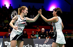 Jess Hopton of Bristol Jets and Mizuki Fuji of Bristol Jets high five - Photo mandatory by-line: Robbie Stephenson/JMP - 07/11/2016 - BADMINTON - University of Derby - Derby, England - Team Derby v Bristol Jets - AJ Bell National Badminton League