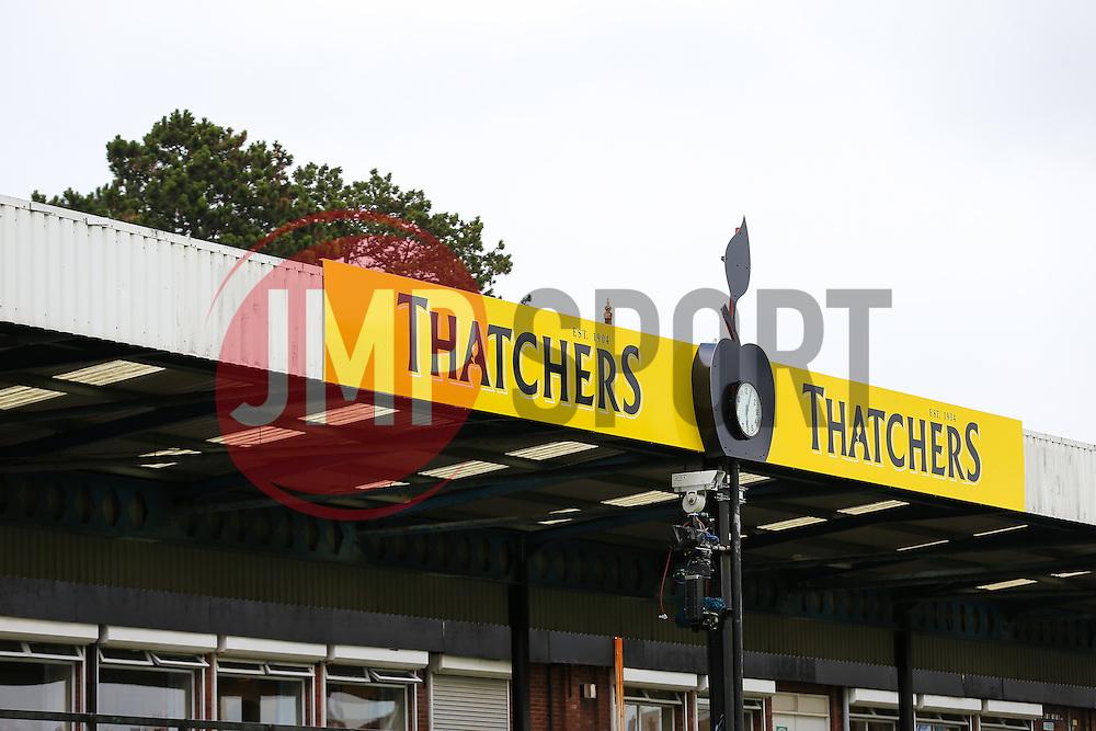 Thatchers End signage - Rogan Thomson/JMP - 11/08/2017 - FOOTBALL - Memorial Stadium - Bristol, England - Bristol Rovers v Cardiff City - EFL Cup First Round.