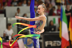 July 28, 2018 - Chieti, Abruzzo, Italy - Junior Rhythmic gymnast Annapaola Cantatore of Italy performs her ribbon routine during the Rhythmic Gymnastics pre World Championship Italy-Ukraine-Germany at Palatricalle on 29th of July 2018 in Chieti Italy. (Credit Image: © Franco Romano/NurPhoto via ZUMA Press)