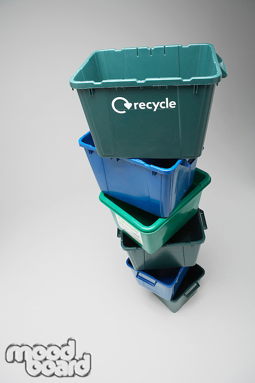 Pile of empty recycling containers elevated view
