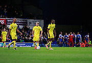 Freddie Sears (20) scores a second goal for Ipswich and celebrates to make the score 2-0 to Ipswich, whilst the Burton Albion players recompose for kick-off during the EFL Sky Bet Championship match between Ipswich Town and Burton Albion at Portman Road, Ipswich, England on 18 October 2016. Photo by Richard Holmes.