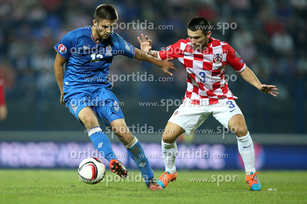 13.10.2014, Stadion Gradski vrt, Osijek, CRO, UEFA Euro Qualifikation, Kroatien vs Aserbaidschan, Gruppe H, im Bild Dmitri Nazarov, Danijel Pranjic // during the UEFA EURO 2016 Qualifier group H match between Croatia and Azerbaijan at the Stadion Gradski vrt in Osijek, Croatia on 2014/10/13. EXPA Pictures &copy; 2014, PhotoCredit: EXPA/ Pixsell/ Igor Kralj<br /> <br /> *****ATTENTION - for AUT, SLO, SUI, SWE, ITA, FRA only*****