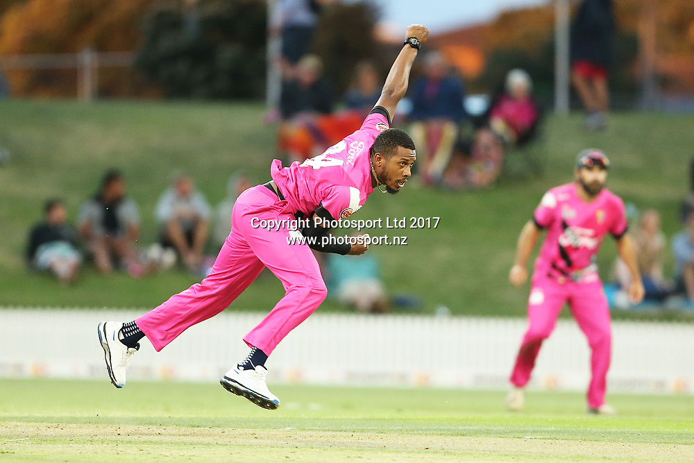 Knights Chris Jordan bowling during the Burger King Super Smash Twenty20 cricket match Knights v Stags played at Bay Oval, Mount Maunganui, New Zealand on Wednesday 27 December 2017.<br /> <br /> Copyright photo: © Bruce Lim / www.photosport.nz