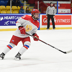 WHITBY, - Dec 15, 2015 -  WJAC Game 6- Team Russia vs Team Switzerland at the 2015 World Junior A Challenge at the Iroquois Park Recreation Complex, ON. Viacheslav Shevchenko #35 of Team Russia follows the play during the second period.<br /> (Photo: Andy Corneau / OJHL Images)