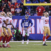 New York Giants quarterback Eli Manning at the end of the game during the New York Giants V San Francisco 49ers, NFL American Football match at MetLife Stadium, East Rutherford, NJ, USA. 16th November 2014. Photo Tim Clayton