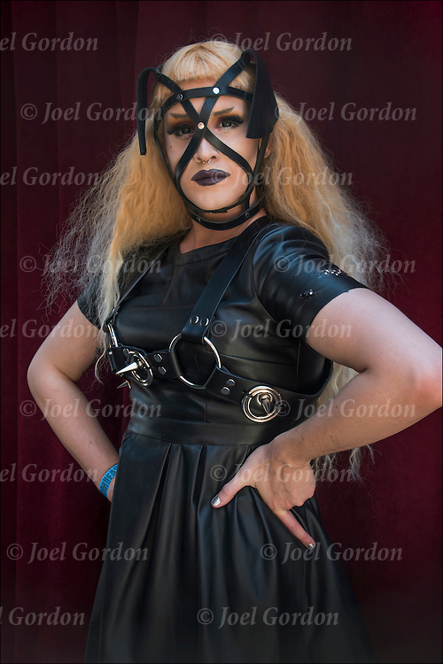 S&amp;M Bondage at the adult-themed Folsom Street East, New York&rsquo;s  s/m-leather-fetish themed street festival.<br /> <br /> Folsom Street East Portrait, Dominatrix.