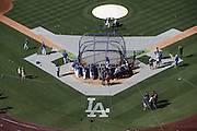 LOS ANGELES, CA - JUNE 17:  General overhead view as the Los Angeles Dodgers take batting practice before the game against the Colorado Rockies at Dodger Stadium on Tuesday, June 17, 2014 in Los Angeles, California. The Dodgers won the game 4-2. (Photo by Paul Spinelli/MLB Photos via Getty Images)
