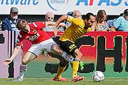ALKMAAR - 30-08-2015, AZ - Roda JC, AFAS Stadion, AZ speler Guus Hupperts (l), Roda JC speler Ard Van Peppen .