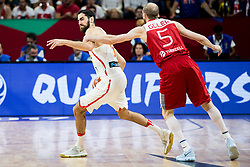Joan Sastre of Spain faulted by Sinan Guler of Turkey during basketball match between National Teams of Spain and Turkey at Day 11 in Round of 16 of the FIBA EuroBasket 2017 at Sinan Erdem Dome in Istanbul, Turkey on September 10, 2017. Photo by Vid Ponikvar / Sportida