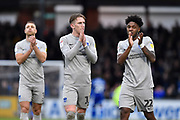 Tom Naylor (4) of Portsmouth and Ellis Harrison (22) of Portsmouth applauds the travelling fans at full time during the EFL Sky Bet League 1 match between Bristol Rovers and Portsmouth at the Memorial Stadium, Bristol, England on 26 October 2019.