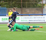 Dundee United goalkeeper Mark McCallum pulls down Dundee's Josh Skelly to conced a penalty - Dundee v Dundee United under 20s<br /> <br />  - &copy; David Young - www.davidyoungphoto.co.uk - email: davidyoungphoto@gmail.com