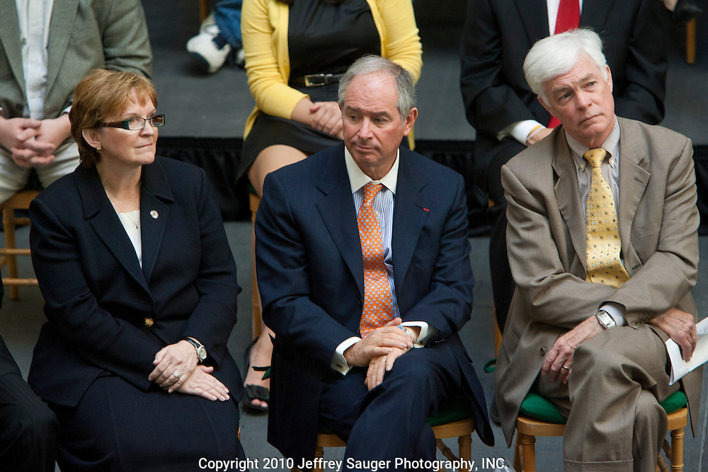 Stephen A. Schwarzman, Chairman and CEO of The Blackstone Group, center, sits next to Stephanie Bergeron, President of Walsh College, left, and Jay Noren, President of Wayne State University, right, at the Undergraduate Library at Wayne State University in Detroit, MI, Friday, April 30, 2010. ..The Blackstone Charitable Foundation in collaboration with the New Economy Initiative for Southeast Michigan announced that Wayne State University, Walsh College, and the University of Miami have been selected as partners for The Blackstone Charitable Foundation's grant to help expand The Launch Pad program to two Michigan partners – Walsh College and Wayne State University. (Jeffrey Sauger)