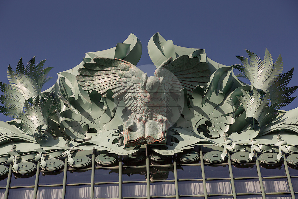 Owl figures on the roof of the Harold Washington Library Center on South State Street, Chicago, IL.