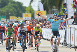 March 21, 2018 - Pekan, Malaysia - RICCARDO MINALI (Right) from Astana Pro Team wins the fourth stage, a 185km from Dungun to Pekan, of the 2018 Le Tour de Langkawi in Pekan, Malaysia. (Credit Image: © Artur Widak/NurPhoto via ZUMA Press)