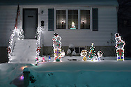 Middletown, NY - A home decorated for Christmas during a winter storm on Dec. 19, 2008.