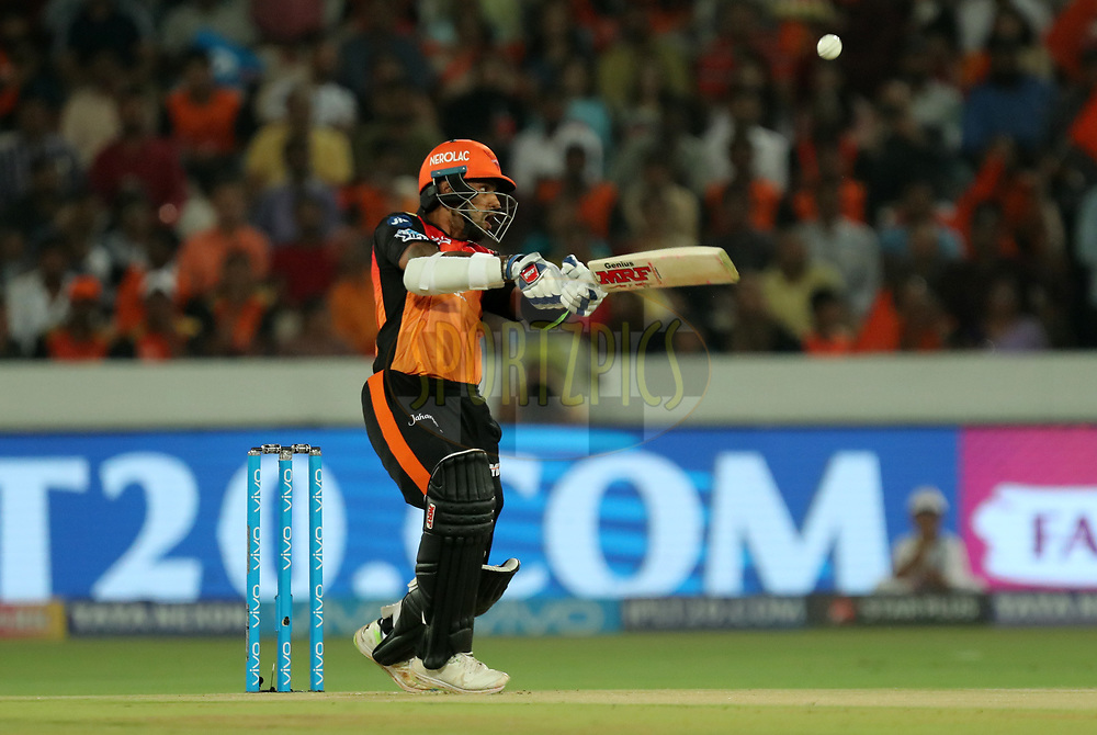 Shikhar Dhawan of Sunrisers Hyderabad  during match twenty five of the Vivo Indian Premier League 2018 (IPL 2018) between the Sunrisers Hyderabad and the Kings XI Punjab  held at the Rajiv Gandhi International Cricket Stadium in Hyderabad on the 26th April 2018.<br /> <br /> Photo by: Prashant Bhoot /SPORTZPICS for BCCI