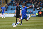 Gillingham forward Cody MacDonald takes a free kick and scores (1-1) during the Sky Bet League 1 match between Gillingham and Shrewsbury Town at the MEMS Priestfield Stadium, Gillingham, England on 23 April 2016. Photo by Martin Cole.