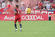 FC Dallas midfielder Santiago Mosquerai (11) smiles while fans celebrate a goal against NYCFC during a MLS soccer game, Sunday, Sept. 22, 2019, in Frisco, Tex. FC Dallas and New York FC draw 1-1 (Wayne Gooden/Image of Sport)