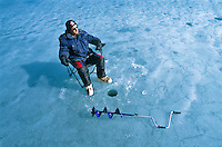 Spring ice fishing in the Yukon.